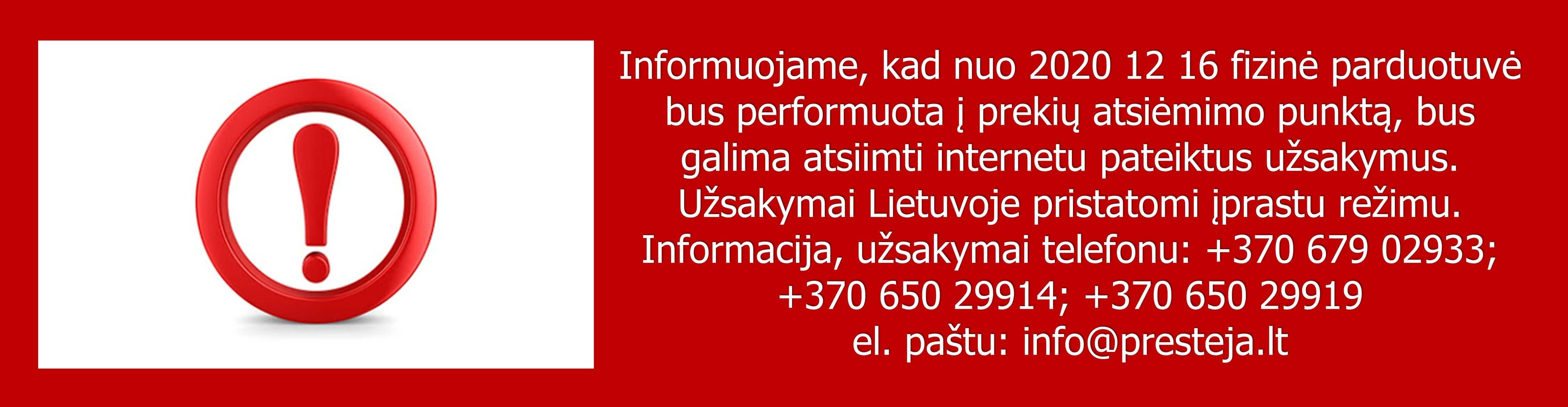 SVARBI INFORMACIJA KARANTINO METU!